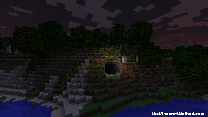 Minecraft Seeds 1 0 0 Cave Entrance At Night Minecraft Seeds