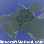 Whole island with village and lake
