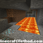 exposed diamonds and lava in mineshaft