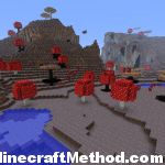 side view of mushroom island with mushroom mountains