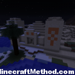 temple on the edge of desert and snow biomes