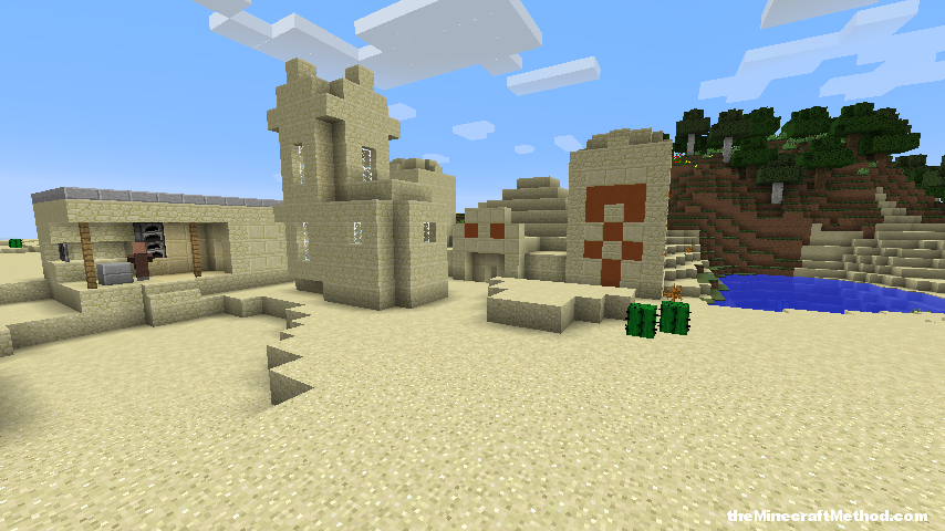 Desert temple and village right next to each other