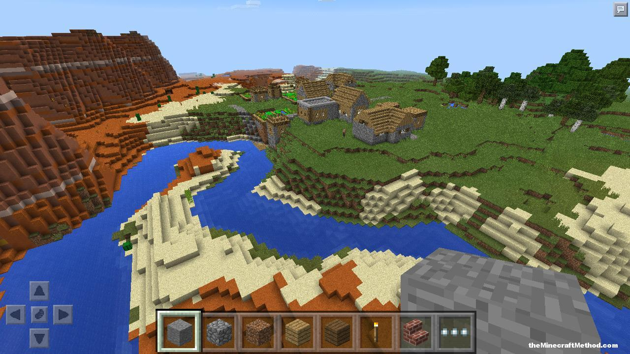 Mesa Biome and Village in this PE seed for Minecraft